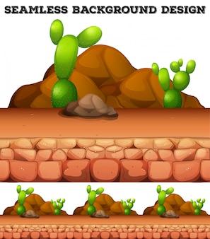 Naadloze achtergrond met cactus en rotsen