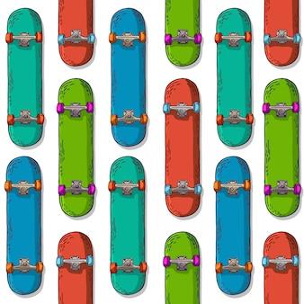 Naadloze achtergrond met een patroon van gekleurd skateboard.