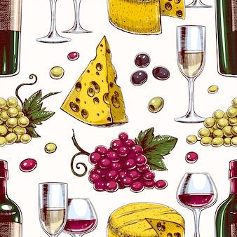 Naadloze achtergrond met flessen en glazen wijn, druiven en kaas
