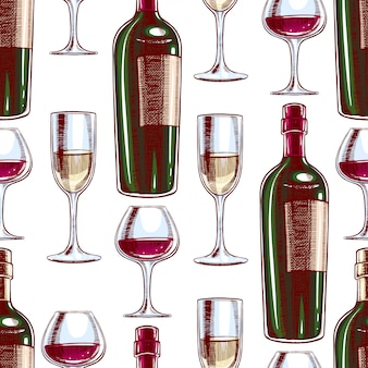 Naadloze achtergrond met flessen en glazen wijn. handgetekende illustratie