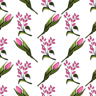 Naadloze achtergrond met gekleurde roze tulpen