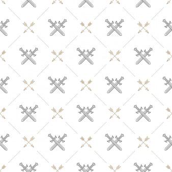 Naadloze achtergrond met gekruiste zwaarden en pijlen - patroon voor behang, inpakpapier, schutblad, envelop binnen, enz.