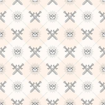 Naadloze achtergrond met gekruiste zwaarden en sunburst royal crown - patroon voor behang, inpakpapier, boek schutblad, envelop binnen, etc.