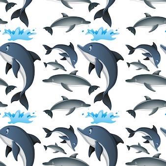 Naadloze achtergrond met gelukkige dolfijnen