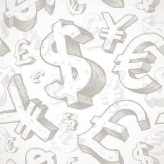 Naadloze achtergrond met hand getrokken valutatekens