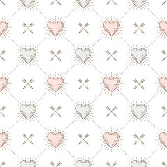 Naadloze achtergrond met hartjes en pijlen - patroon voor behang, inpakpapier, schutblad boek, envelop binnen, etc.
