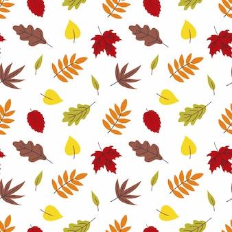 Naadloze achtergrond met herfstbladeren. behang voor het naaien van kleding, bedrukking op stof en verpakkingspapier. herfstblad vallen.