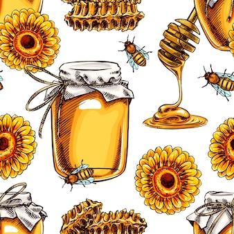 Naadloze achtergrond met honing. potten met honing, bijen, honingraat. handgetekende illustratie