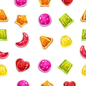 Naadloze achtergrond met kleurrijke snoepjes op een witte achtergrond.