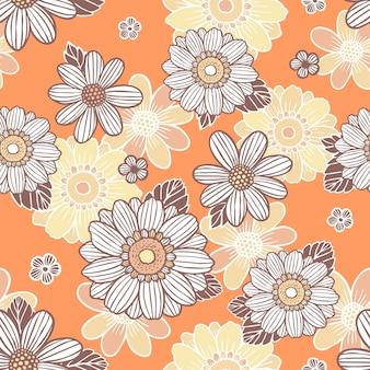 Naadloze achtergrond met madeliefjebloemen over sinaasappel