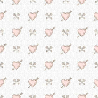Naadloze achtergrond met pijl doorboorde harten en gekruiste sleutels - patroon voor behang, inpakpapier, boekschutblad, envelop binnen, enz.