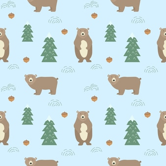 Naadloze achtergrond met schattige beren.