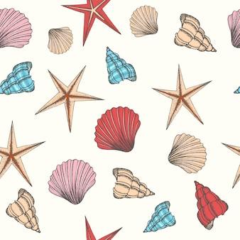 Naadloze achtergrond met shells