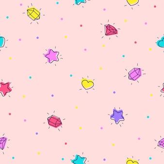 Naadloze achtergrond met sterren harten kristallen en edelstenen illustratie in doodle stijl flat design