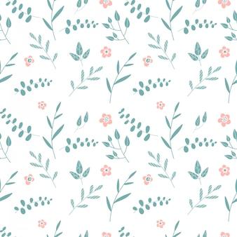 Naadloze achtergrond met takken van schijfzalm eucalyptus. tropisch naadloos patroon van eucalyptustakken met groene bladeren en abstracte roze bloemen op wit. vlakke afbeelding.