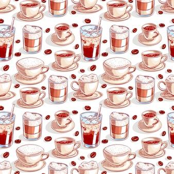 Naadloze achtergrond met verschillende kopjes koffie en koffiebonen. handgetekende illustratie