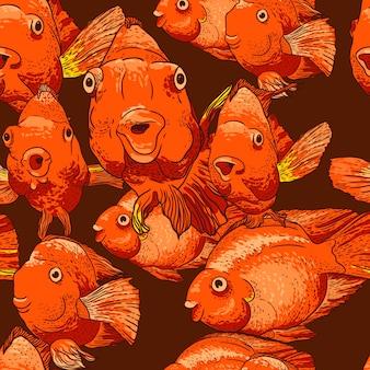 Naadloze achtergrond met vis