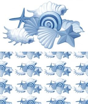 Naadloze achtergrond met zeeschelpen in blauw