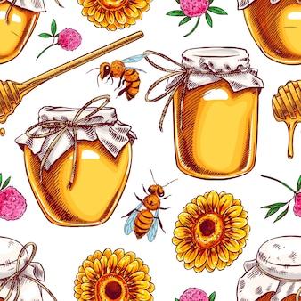 Naadloze achtergrond van honingpotten, bijen, bloemen. handgetekende illustratie