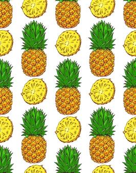 Naadloze achtergrond van rijpe ananas. handgetekende illustratie