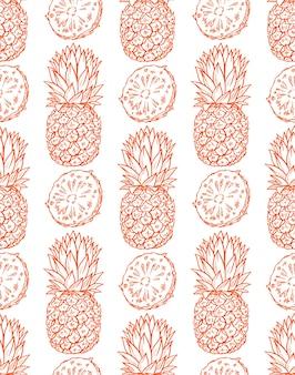 Naadloze achtergrond van rijpe oranje ananas. handgetekende illustratie