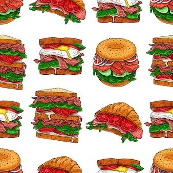 Naadloze achtergrond van verschillende smakelijke sandwiches. handgetekende illustratie