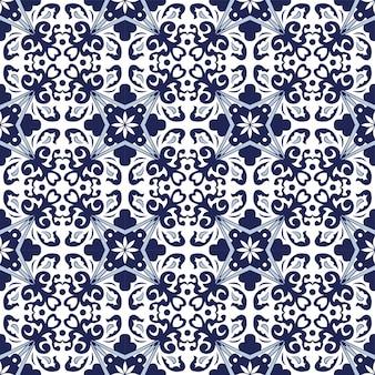 Naadloze achtergrond, vintage blauwe spiraal blad caleidoscoop patroon.