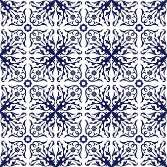 Naadloze achtergrond, vintage blauwe spiraal bloemenwijnstok caleidoscoop patroon.