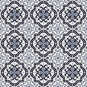 Naadloze achtergrond, vintage blauwe toon ronde kromme vierkante caleidoscoop patroon.