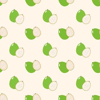 Naadloze achtergrondafbeelding kleurrijke tropische fruit guave