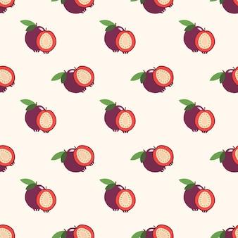 Naadloze achtergrondafbeelding kleurrijke tropische vruchten aardbei guave