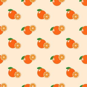 Naadloze achtergrondafbeelding kleurrijke tropische vruchten citrus oranje