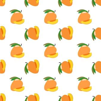 Naadloze achtergrondafbeelding kleurrijke tropische vruchten mango