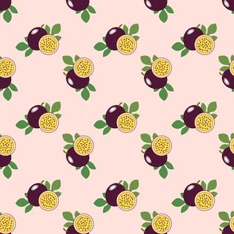 Naadloze achtergrondafbeelding kleurrijke tropische vruchten passievrucht