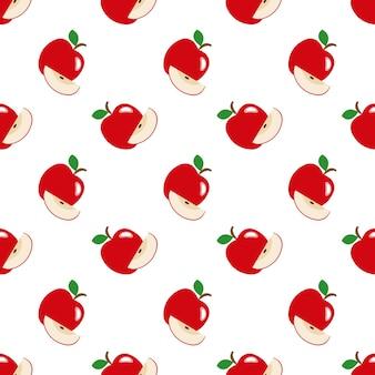 Naadloze achtergrondafbeelding kleurrijke tropische vruchten rode appel
