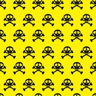 Naadloze achtergrondpatroon schedels. gevaar waarschuwing behang. illustreren.