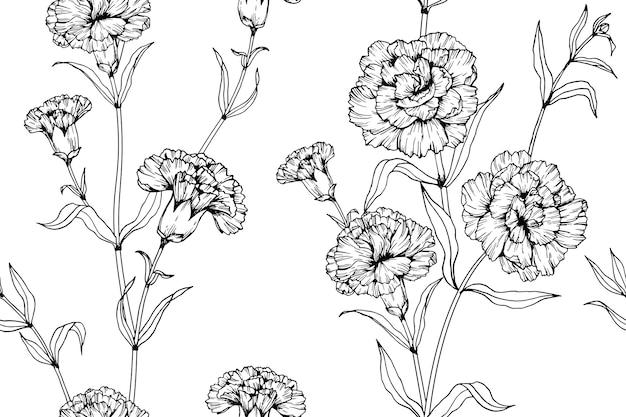 Naadloze anjer bloem patroon achtergrond.