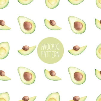 Naadloze aquarel patroon met avocado hand getrokken illustratie
