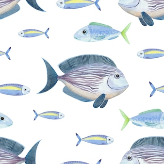 Naadloze aquarel patroon met bluefish