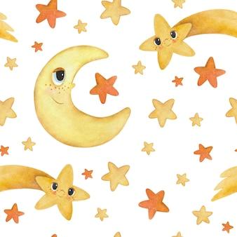 Naadloze aquarel patroon met cartoon maan, sterren en komeet