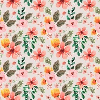 Naadloze aquarel patroon met gele pioenrozen en roze bloemen