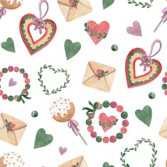 Naadloze aquarel patroon met harten kralen en cake springt