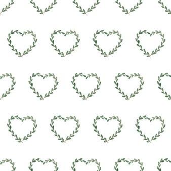 Naadloze aquarel patroon met hartjes van twijgen
