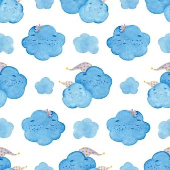 Naadloze aquarel patroon met kleurrijke cartoon slaap wolken in hoofdletters