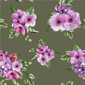 Naadloze aquarel patroon met lila bloemen op grijze achtergrond