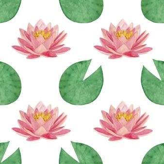 Naadloze aquarel patroon met lotus bladeren en bloemen