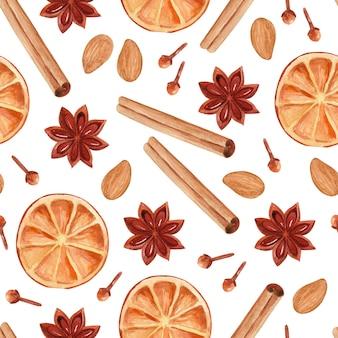 Naadloze aquarel patroon met mandarijnen steranijs anjers en noten