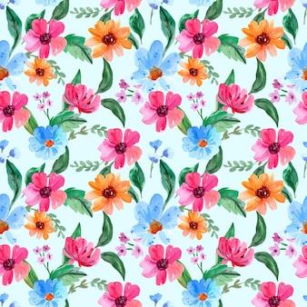 Naadloze aquarel patroon met roze en blauwe bloemen