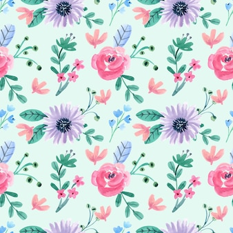 Naadloze aquarel patroon met roze en paarse bloemen en blad