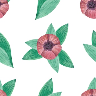 Naadloze aquarel patroon met tulpen